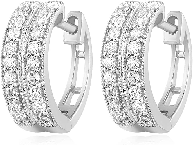 2.00 Ct Round Cut Diamond Hoop Earrings for Women/'s 14k Yellow Gold Over
