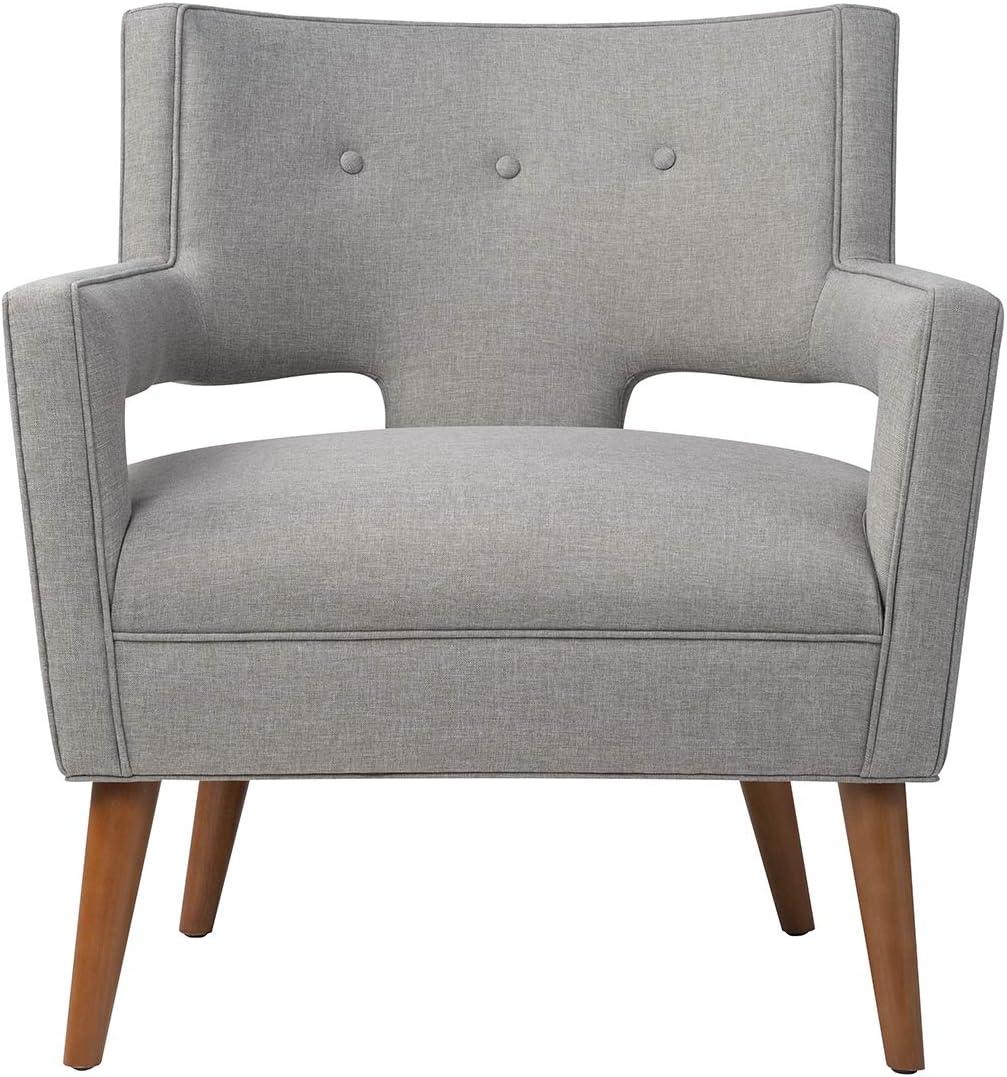 MEXIYA Trump Modern Light Grey Mid-Century Upholstered Accent Lounge Arm Chair