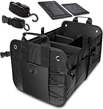 Evilarom Durable Collapsible Adjustable Compartments Car Trunk Organizer