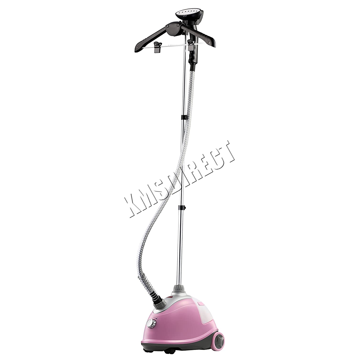 FoxHunter Professional Portable Garment Steamer 1800W Fabric Brush Curtain Silk Clothes Iron Heat Pink KMS