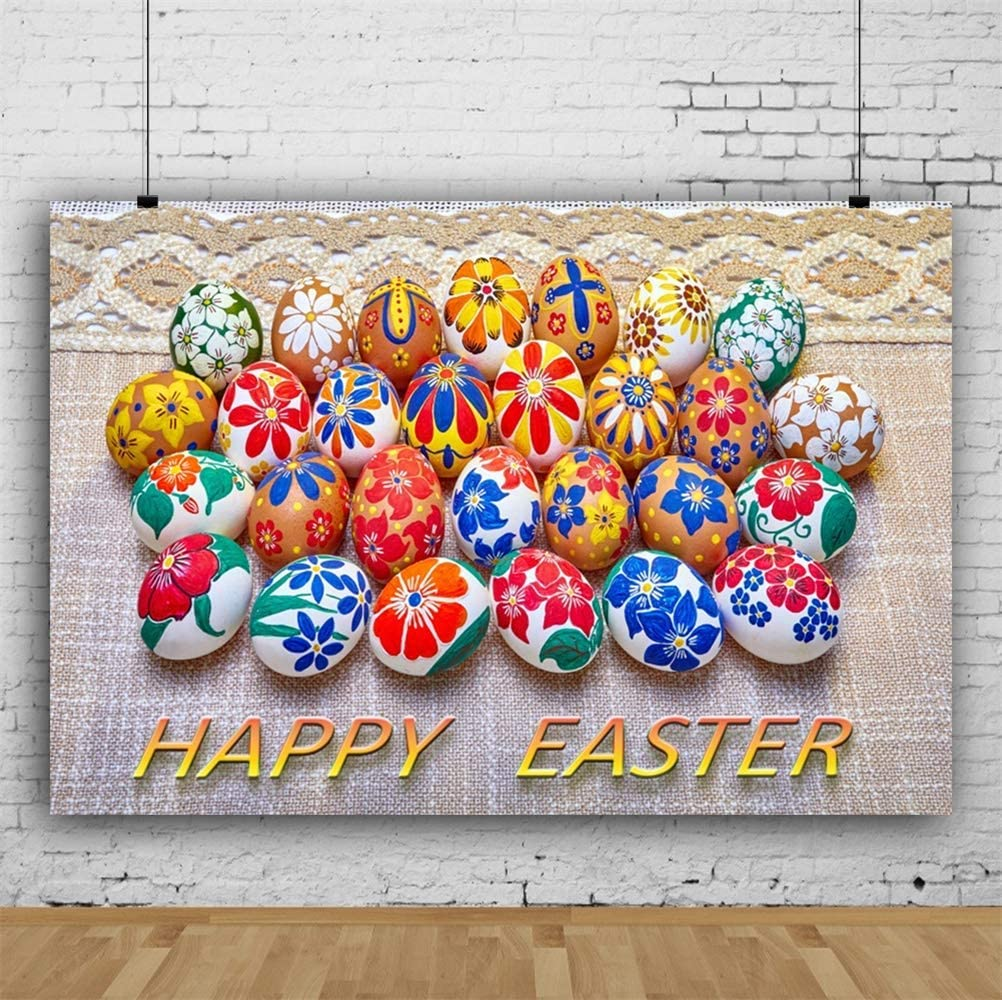 Happy Easter 10x6.5ft Polyester Photography Background Colorful Hand Painted Easter Eggs On Old Tablecloth Scene Backdrop Community Easter Egg Hunt Day Banner Wallpaper Studio Props