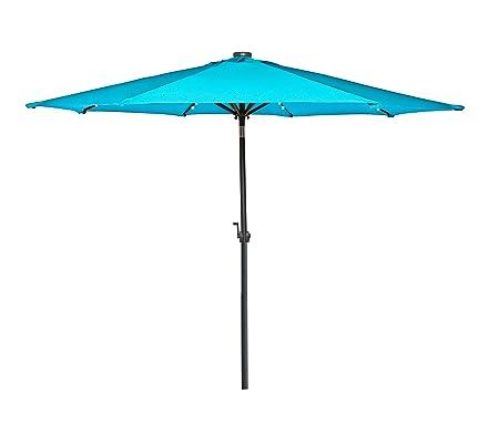 HERMO 98 Roun 9 Ft Outdoor Solar Power LED Patio Umbrella, Green