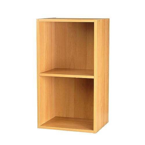 Kitchen Shelf Amazon: 2 Tier Wooden Bookcase Storage Shelving Unit: Amazon.co.uk