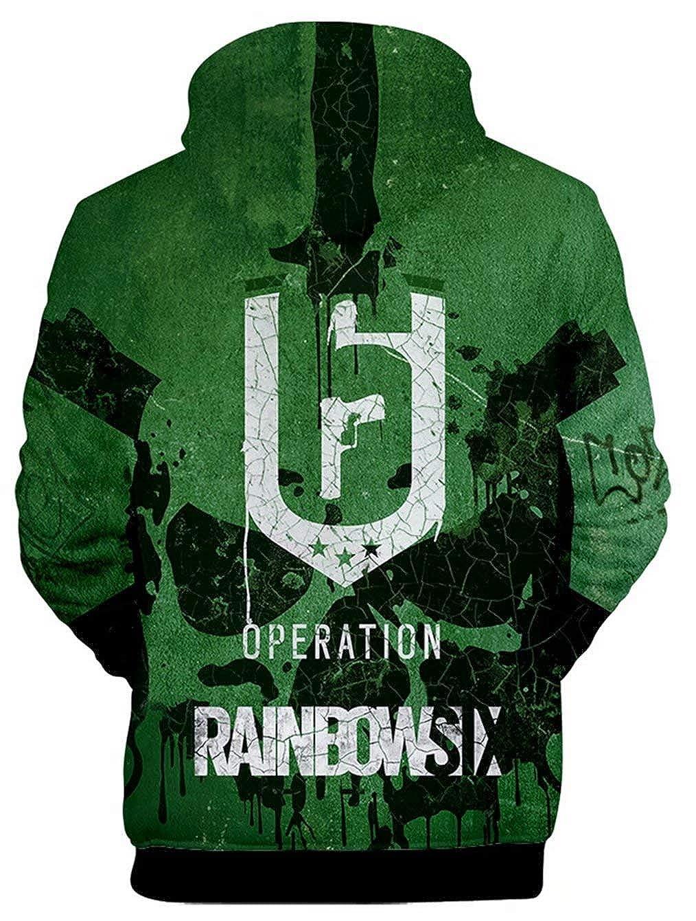 qingning Rainbow Six Kaupzenpullover 3D Drucken Regenbogen Sechs Hoodie Cosplay Sweatshirt