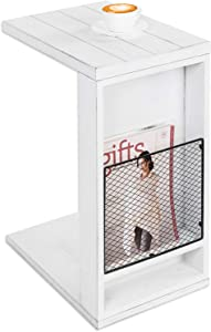 MyGift Vintage White Slatted Boards Style C-Table/Side Sofa Table with Rustic Metal Wire Magazine Holder Slot