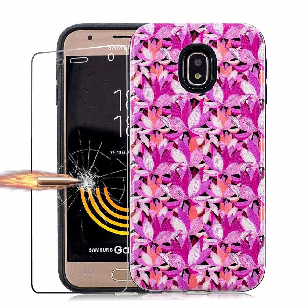 Samsung Galaxy J3 (2017) J330 Coque avec Verre trempé écran Protecteur, MISSDU Slim-Fit Anti-Rayures PC TPU Souple en Caoutchouc Silicone Housse de Couverture Absorbant Les Chocs Retour Housse Lotus