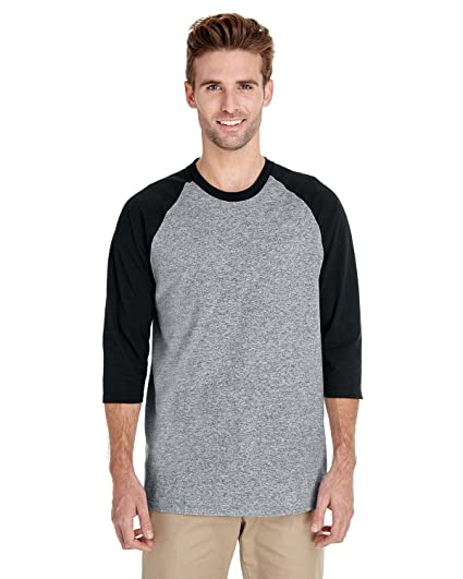257db8aa6f1fdd Image Unavailable. Image not available for. Color: Gildan Heavy Cotton 3/4 Sleeve  Raglan Baseball T-Shirt. 5700 Sport Grey