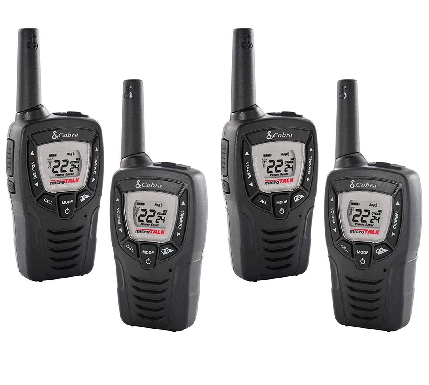 4 COBRA CX312 23 Mile 22 Channel FRS GMRS Walkie Talkie 2-Way Radios w VOX