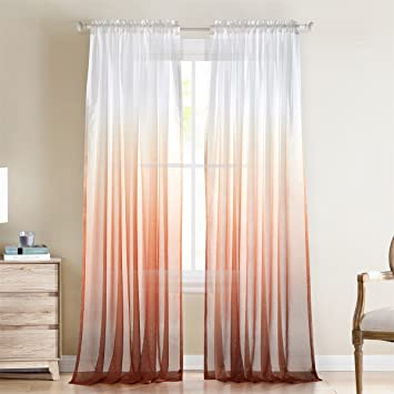 Dreaming Casa Gradient Ombre Sheer Curtains Rod Pocket Window Treatment Voile for Living Room Kids Room 2 Panels 52 W x 96 L Grey