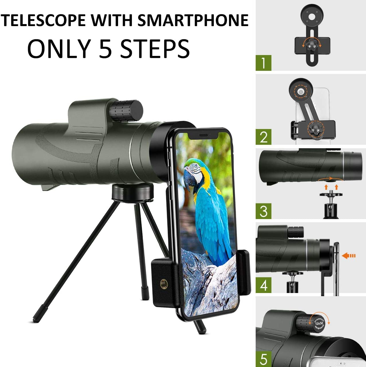 Monocular Telescope - 12X42 Monocular for Bird Watching, IPX7 Waterproof HD Monocular for Adults & Kids with Smartphone Holder & Tripod for Bird Watching, Hunting, Camping, Wildlife Scene, Jungle Green : Camera & Photo