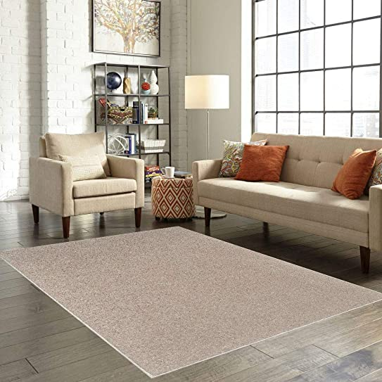 American Bright Solid Color Beige Area Rug – 3 x5 Oval