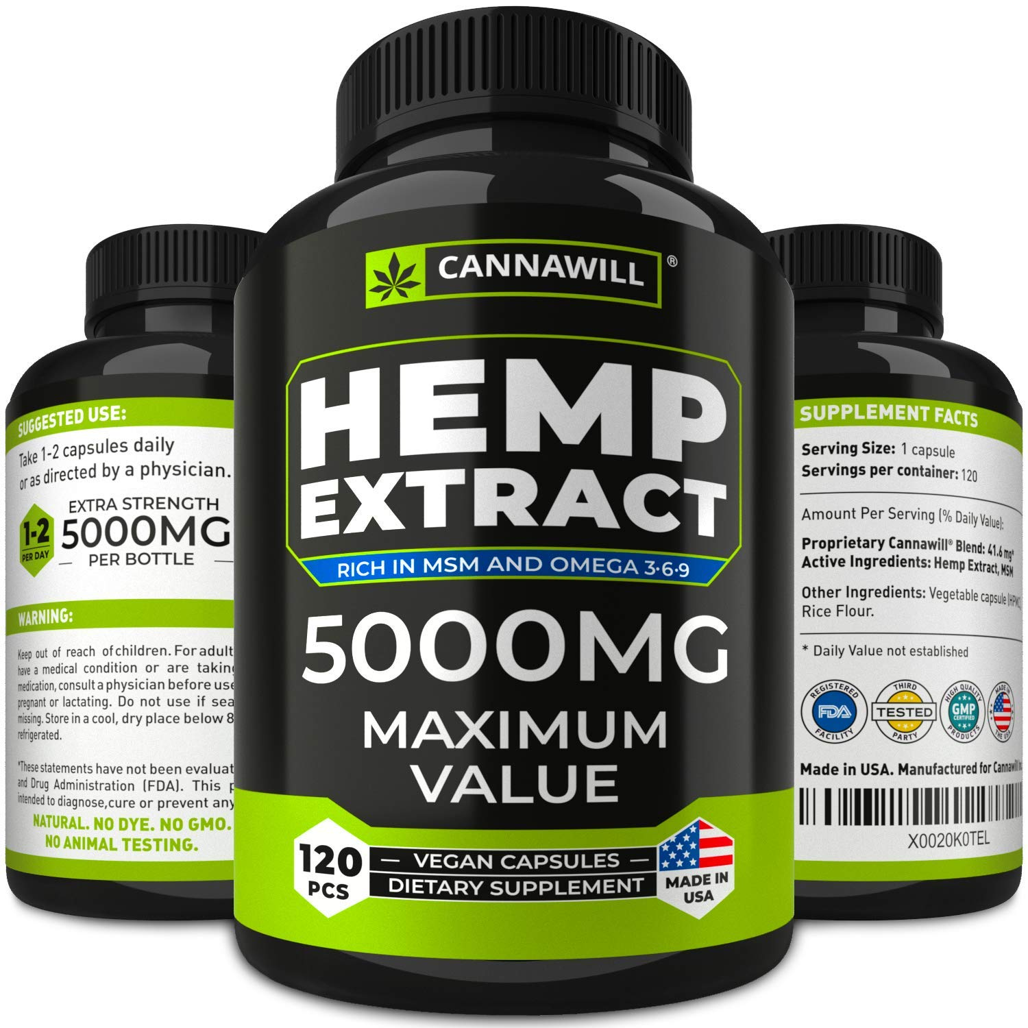 Hemp Oil Capsules 5000MG - Best for Anxiety & Stress Relief - Hemp Seed Oil Capsules Made in USA - 100% Natural Anti Inflammatory, Mood & Immune Support - Good for Skin, Hair & Nails - Omega 3 by CANNAWILL