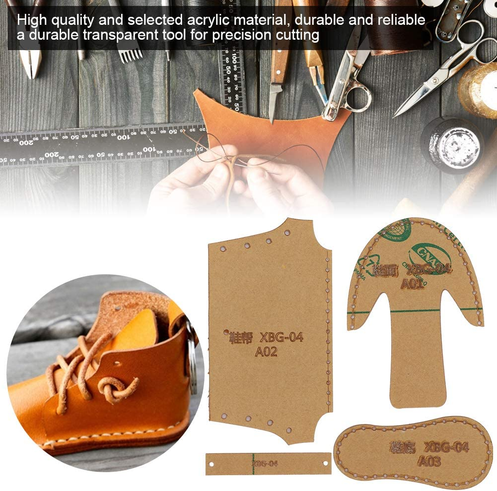 Mini Shoes Boots Mold DIY Leather Pattern Acrylic Template for DIY Shoes Stencil 3pcs Shoes Acrylic Templates
