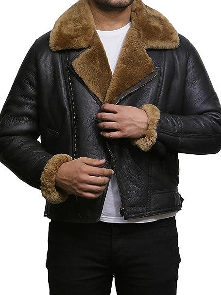 Brandslock Hombre Aviador Ginger Marron B3 Real Shearling piel de oveja Bomber Flying Pilot Jacket (