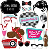 50's Sock Hop - 1950's Rock N Roll Party Photo Booth Props Kit - 20 Count