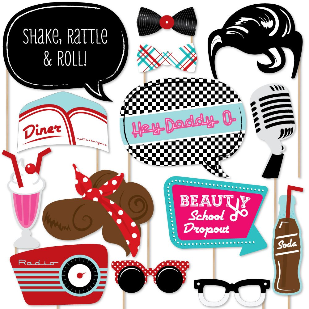 Big Dot of Happiness 50's Sock Hop - 1950's Rock N Roll Party Photo Booth Props Kit - 20 Count