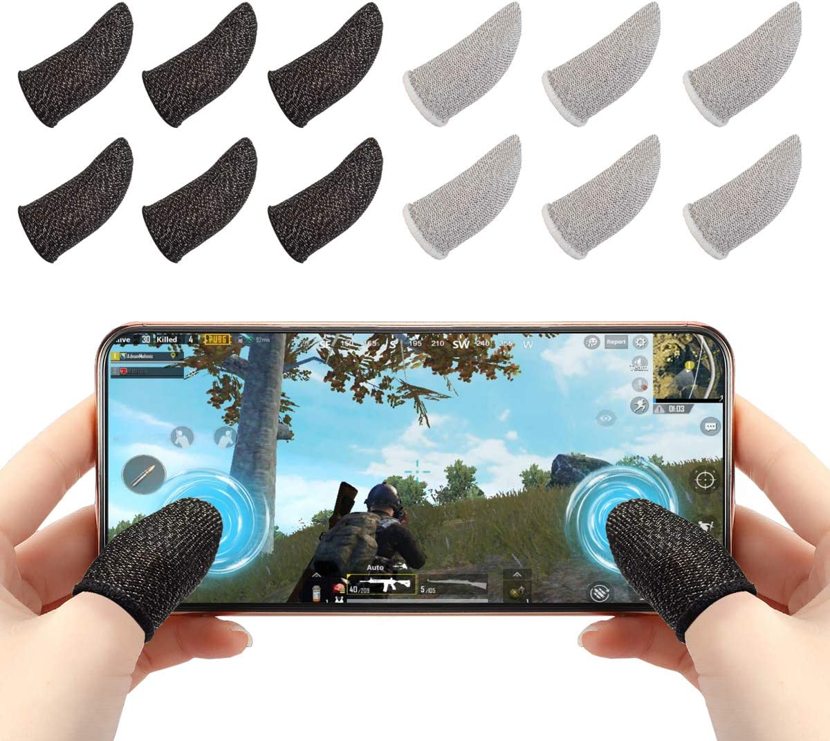 Mobile Game Controller Finger Sleeve Sets 1 Pair Anti-Sweat Breathable Full Touch Screen Sensitive Shoot Aim Joysticks Finger Set for PUBG//Knives Out//Rules of Survival