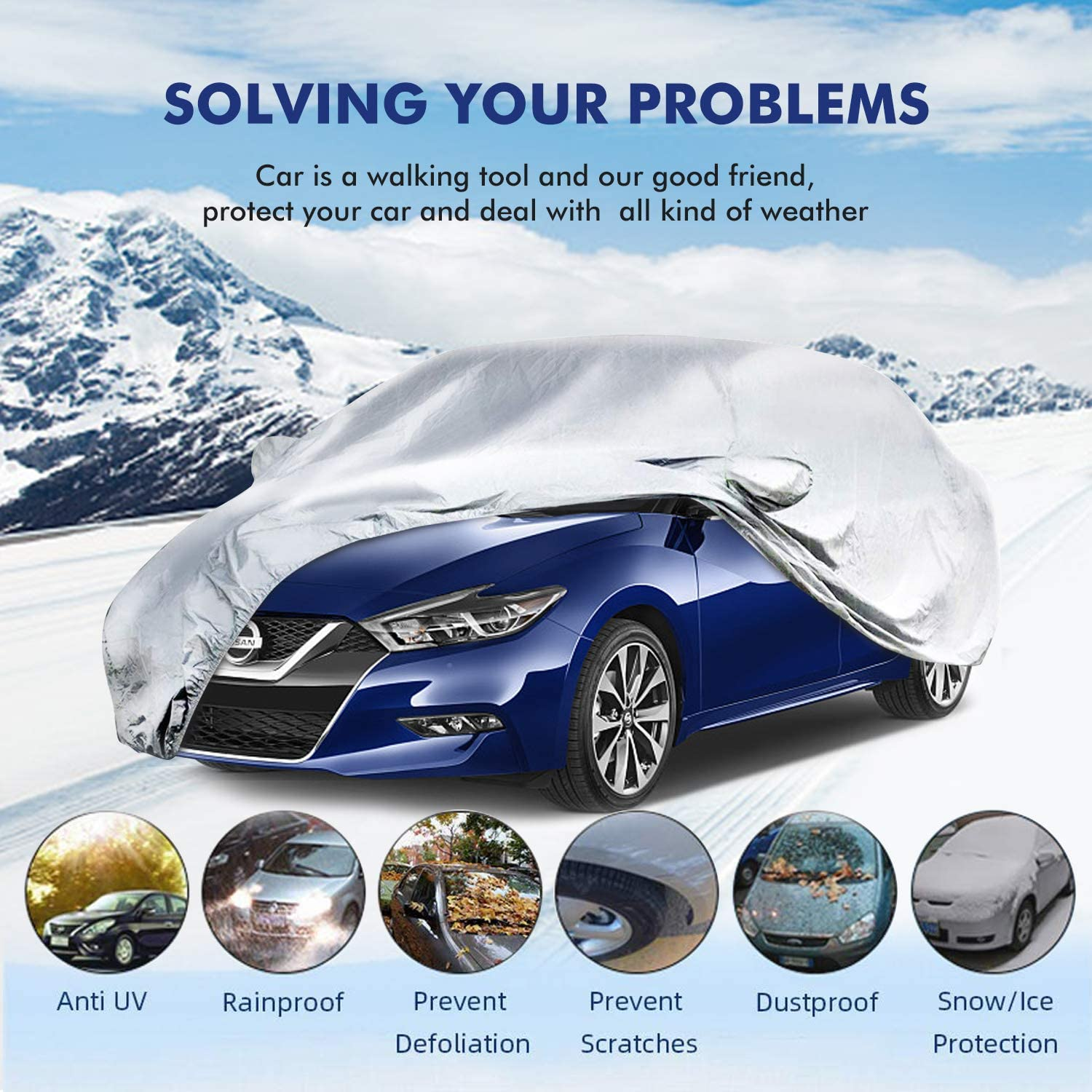 6-Layer Breathable UV Protection Waterproof//Windproof//Snowproof//Scratch Resistant Universal Fit Full Car Covers for Sedan Wagon All Weather Use TABIGER Car Cover 191 L x 76 W x 56 H