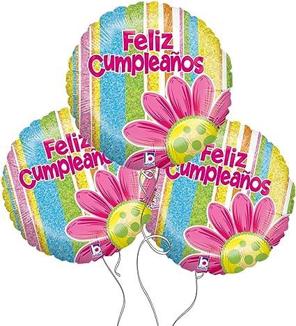 Amazon.com: Feliz Cumpleanos español cumpleaños flores Mylar ...