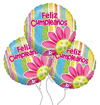Amazon.com: Feliz Cumpleanos Spanish Birthday Flower Mylar ...