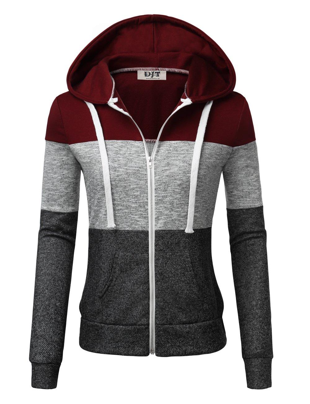 DJT Hoodie Jacket for Women, Women's Color Block Long Sleeve Zip-up Sweatshirt Hoodie with Pockets Wine M