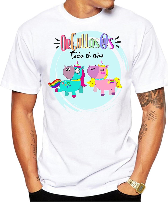 Camiseta Hombre Orgullos@s Todo el año. Camiseta Dia del Orgullo Gay LGTB. Pride Madrid Chueca. Camiseta para Celebrar el día.