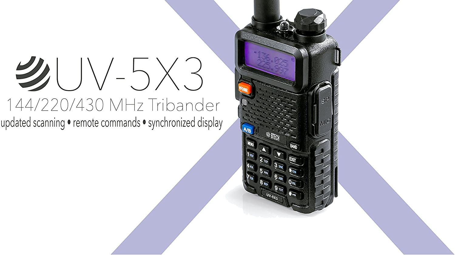 BTECH UV-5X3 5 Watt Tri-Band Radio VHF, 1.25M, UHF, Amateur Ham , Includes Dual Band Antenna, 220 Antenna, Earpiece, Charger, and More
