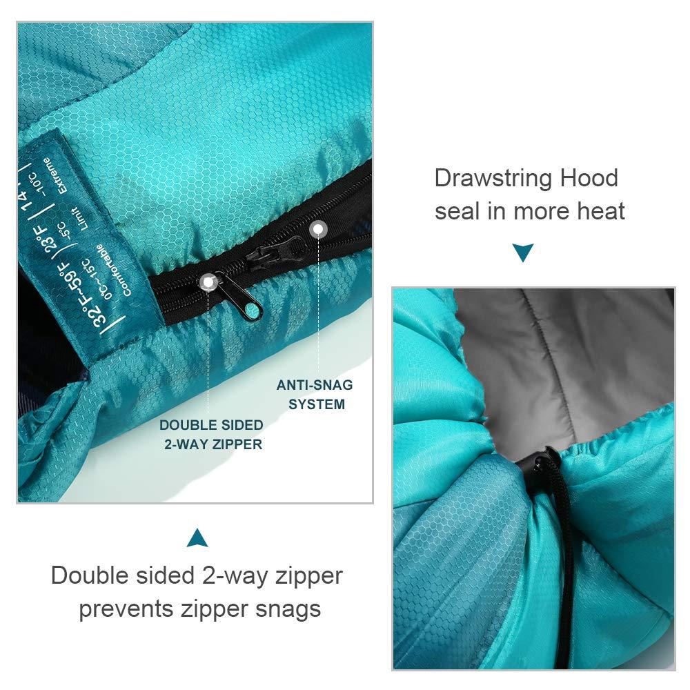 L/éger et Confortable pour 3-4 Saison Camping Outdoor Tissu imperm/éable et r/ésistant /à la d/échirure Bessport Sac de Couchage Duvet pour Adultes et Enfant-Blue/&Green