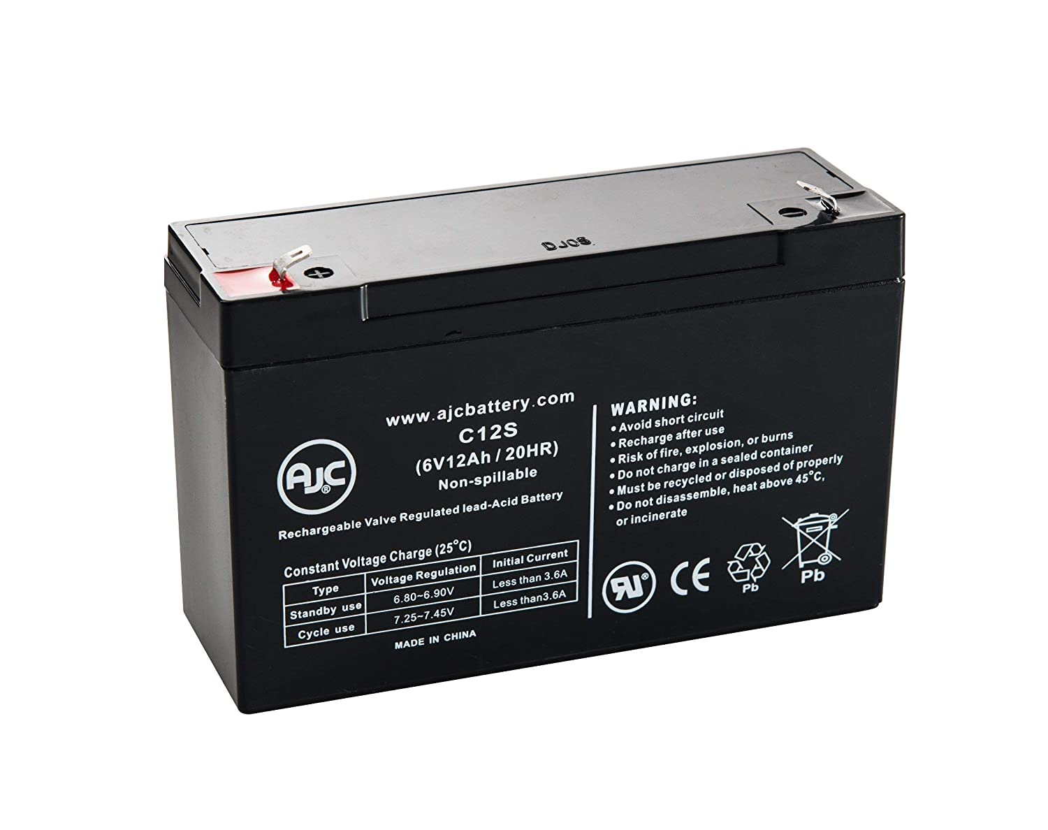 Sure-Lites 12V-UMB-2 6V 12Ah Emergency Light Battery - This is an AJC Brand Replacement AJC Battery