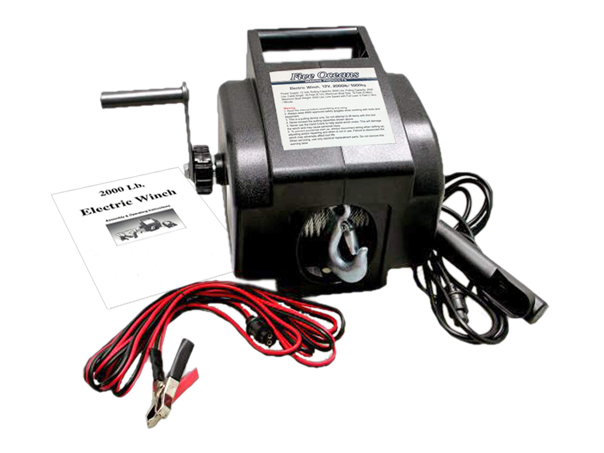 Five Oceans Electric Portable Trailer Recovery Winch, 2000 LBS FO-3440-1 by Five Oceans