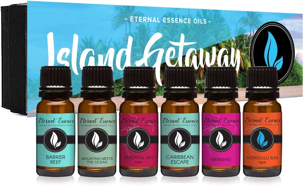 Island Getaway Gift Set of 6 Premium Fragrance Oils - Barrier Reef, Mountain Meets The Ocean, Beautiful Day, Caribbean Escape, Honolulu Sun, Mermaid - Eternal Essence Oils