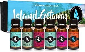 Island Getaway Gift Set of 6 Premium Fragrance Oils - Barrier Reef, Mountain Meets The Ocean, Beautiful Day, Caribbean Escape, Honolulu Sun, Mermaid - Eternal Essence Oils