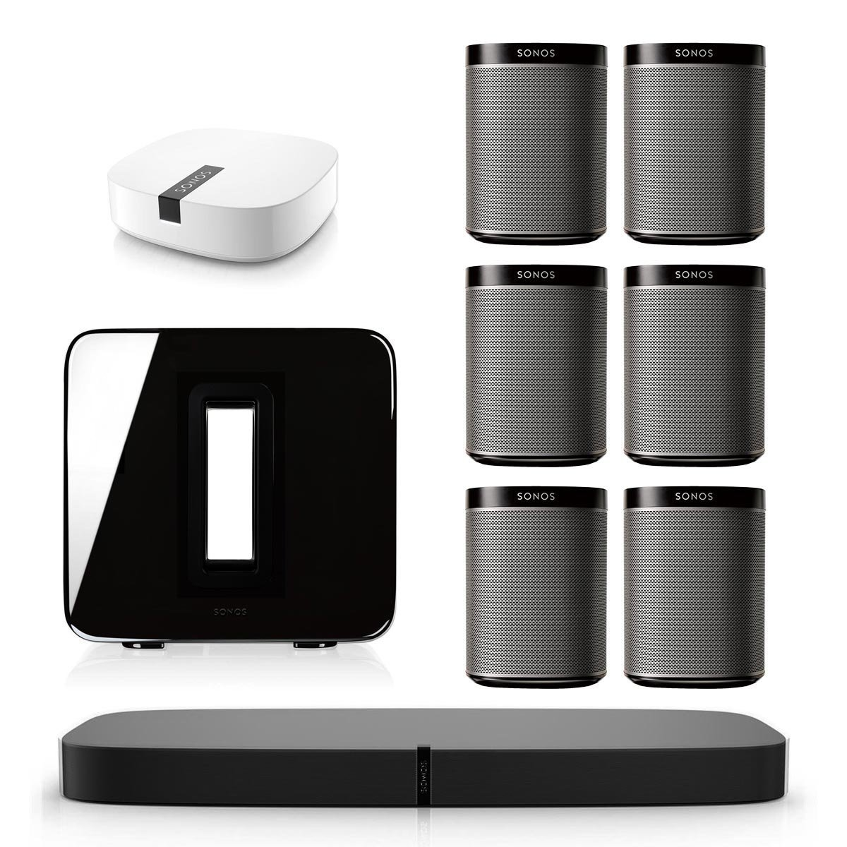 Sonos PLAYBASE Multi-Room Whole House Home Theater System with PLAY:1 Speakers, SUB Wireless Subwoofer and BOOST Wireless Adapter (Black)