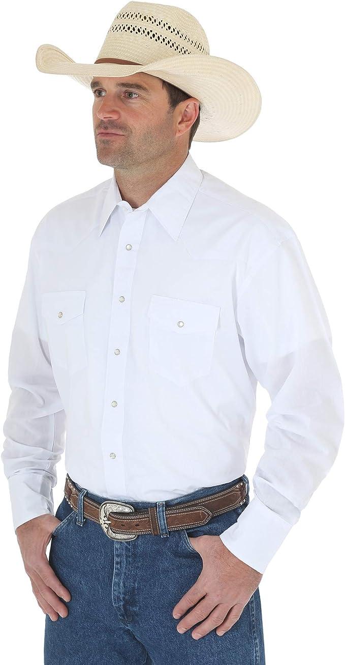 Deporte occidental manga larga camisa Wrangler hombres, blanco, X 2-grande