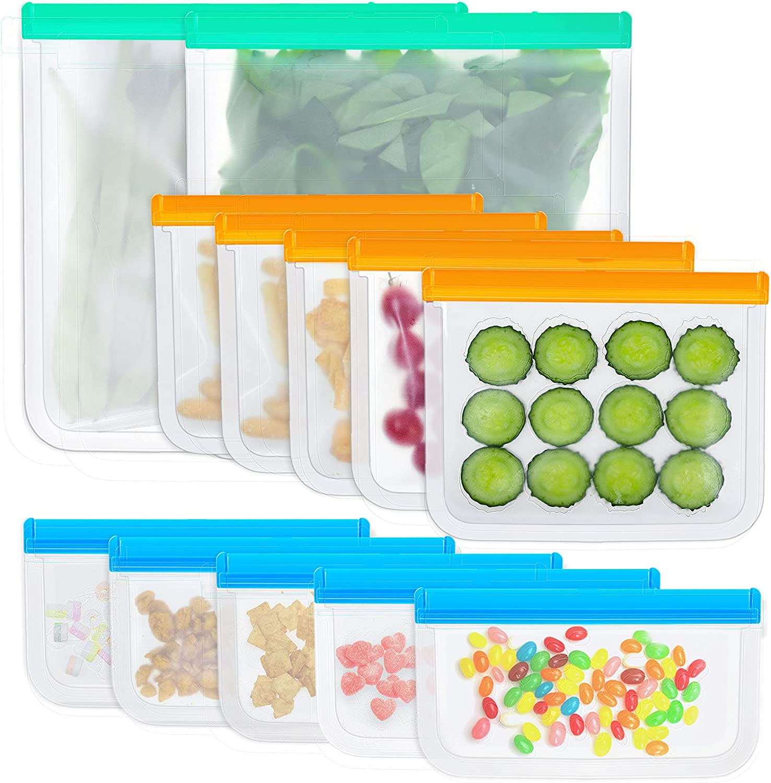 KSFJZF 12 Pack Reusable Storage Bags, 5 Reusable Snack Bags 5 Reusable Sandwich Bags 2 Reusable Gallon Bags For Food, BPA Free Leakproof Reusable Food Storage Bags, Reusable Freezer Bags