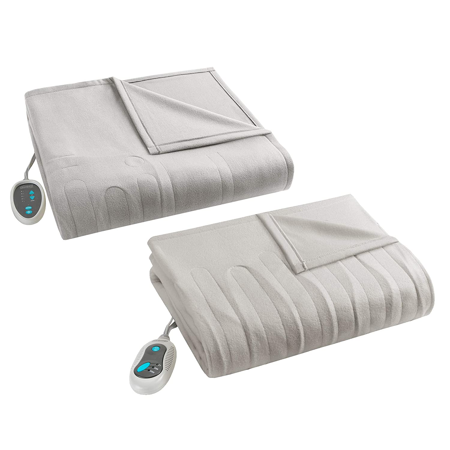 Beautyrest Fleece 2 Piece Electric Blanket Combo Ultra Warm and Soft Heated Throws Bedding Set with Auto Shutoff, Full, Tan