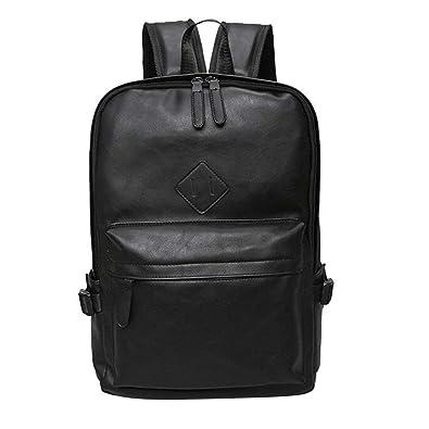 43ecebce8 Amazon.com: Backpack Male Leather Backpack Laptop Satchel Travel School Rucksack  Bag Black,Black: Shoes
