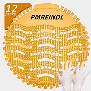 "PMREINDL Urinal Screen & Deodorizer Anti-Splash & Odor Neutralizer(12-Pack+Clean Gloves) by FANS&FUN for Bathrooms, Restrooms, Office, Restaurants, Schools""Orange Fragrance"" (Orange)"