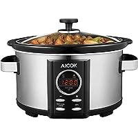 Slow Cooker Aicok Mijoteuse Electrique Programmable, avec Couvercle en Verre Trempé et Bol Amovible en Céramique, 3.5L