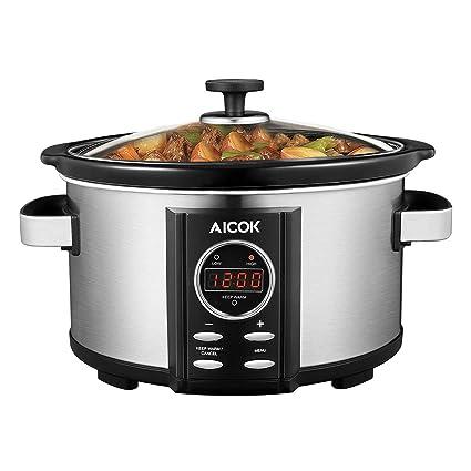 Aicok Olla Coccion Lenta Digital, 3.5 L Slow Cooker, Bandeja de Cerámica, Extraíble Cubierta de Vidrio Templado, Temporizador de Cuenta Regresiva ...