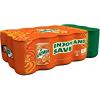 Mirinda Orange, Carbonated Soft Drink, Mini Cans, 15 x 155 ml