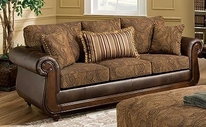 Chelsea Home Furniture Oneida Sofa, Isle Tobacco/Kiser Cappuccino/Teton Onyx  Pillows (