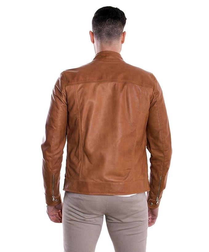 D Arienzo - Hamilton - Chaqueta de piel piel claro Quattro bolsillos cuero 46: Amazon.es: Ropa y accesorios