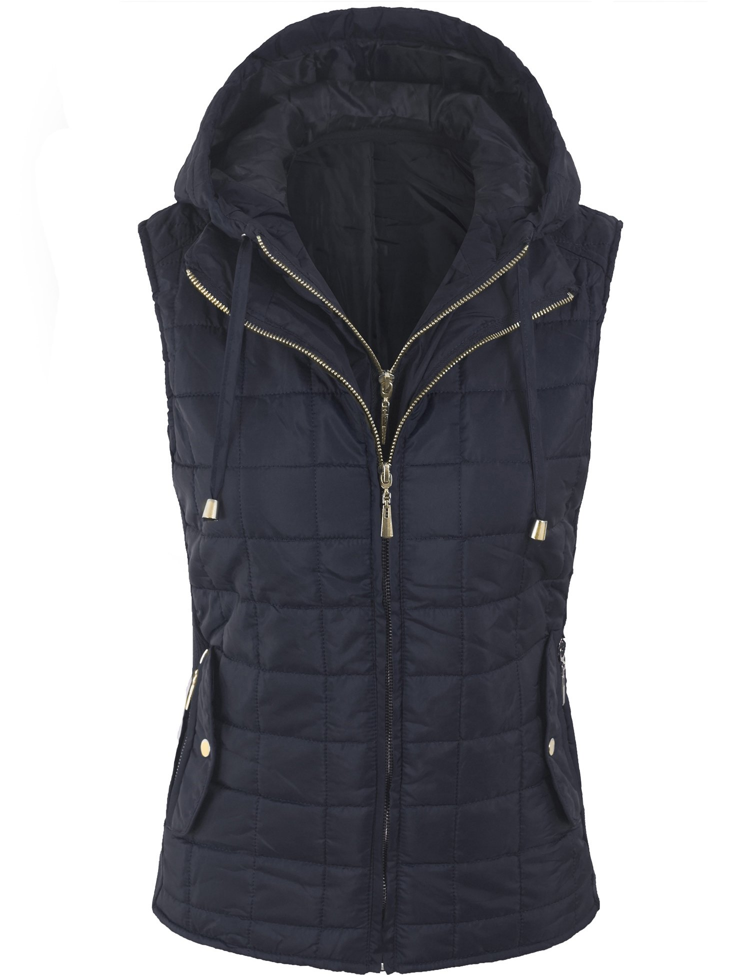 BOHENY Womens Quilted Fully Lined Lightweight Vest with Hoodie-L-Navy_Hoodie