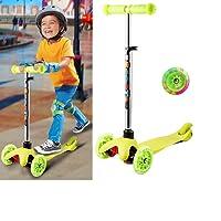 Acecoree Kinderscooter mit 3 Blinkenden LED Räder, Kickboard Scooter für Kinder ab 3 Jahren, Abnehmbare Lenker Kinderroller Dreiräder Höhenverstellbarer
