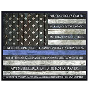 Police Officer Prayer Thin Blue Line Flag Typography Art Print, Wall Art Poster - Unique Home Decor for Office, Den - Gift for Cops, First Responders, Law Enforcement - 8x10 Photo Unframed