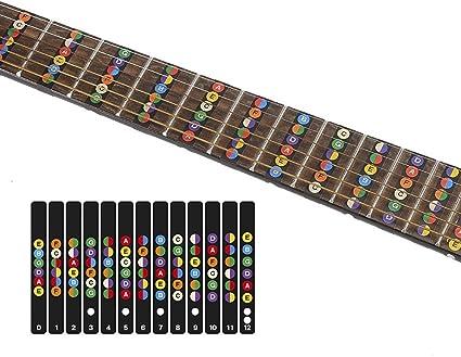Colorido notas de guitarra para principiantes guitarra con notas ...