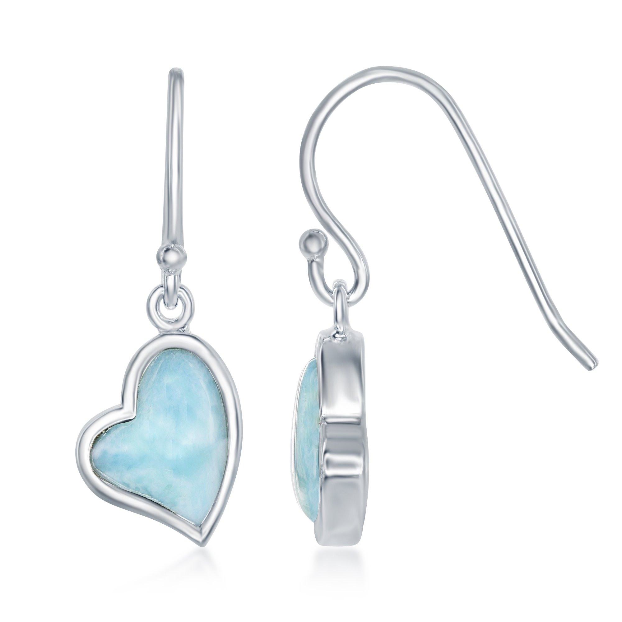 Sterling Silver Natural Larimar Heart Fishhook Earrings