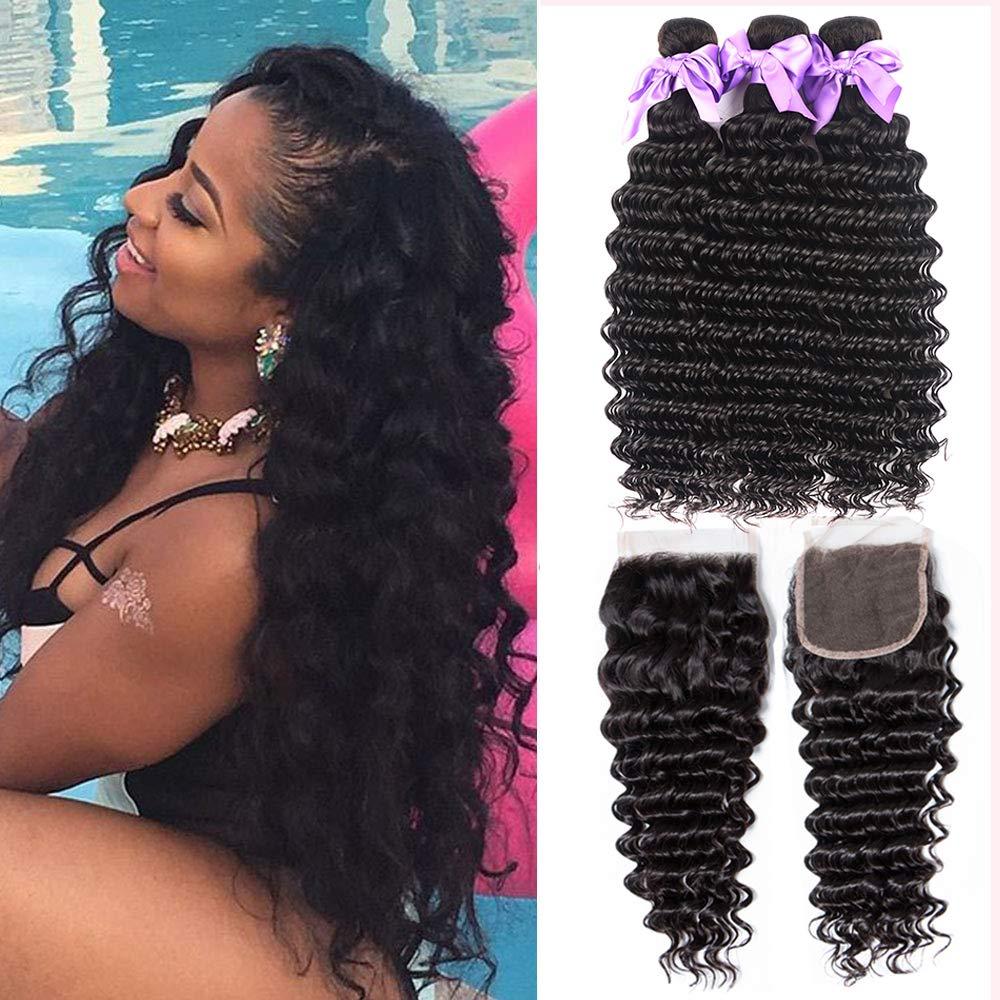 8A Brazilian Deep Wave Bundles With Closure Free Part (10 12 14+10) Human Hair Bundles With Closure 100% Human Hair Laritaiya Hair