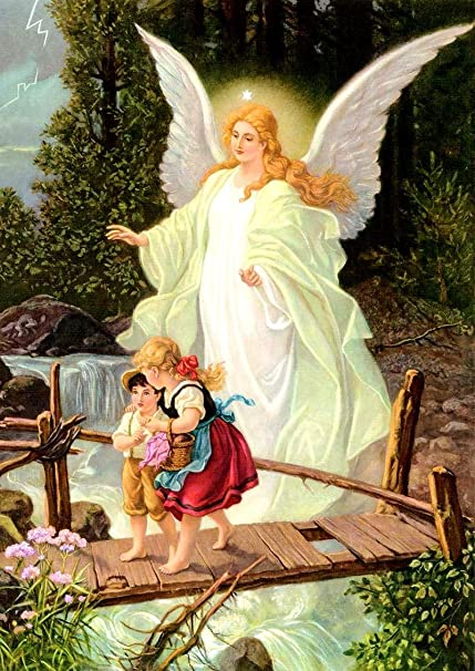 amazon com guardian angel crossing bridge with children canvas